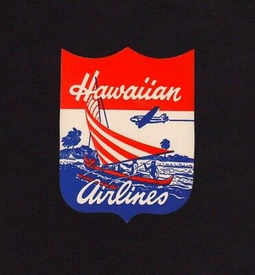 SPECTACULAR Hawaiian Airlines Vintage Unused Label       **WORLD FREE SHIPPING**