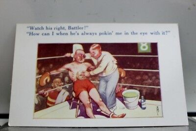 Comic Cartoon Boxer Watch His Right Battler Postcard Old Vintage Card View Post