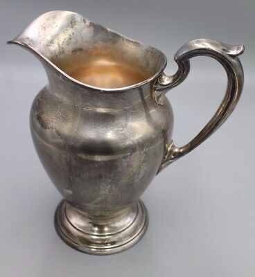 "Vtg International Sterling Silver Pitcher E74 4% PTE 9.5"" Tall 6-7 Cup Capacity"