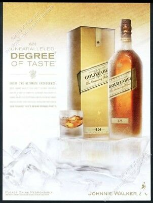 2007 Johnnie Walker Gold Label Scotch Whisky bottle photo BIG vintage print ad