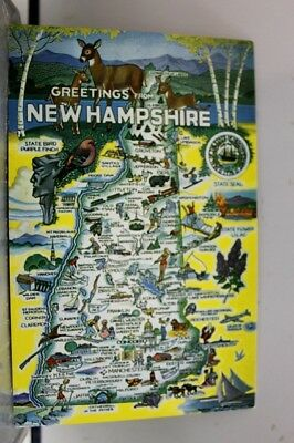 New Hampshire NH Map Greetings Postcard Old Vintage Card View Standard Souvenir