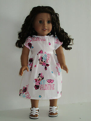 "Minnie Mouse Valentine Hearts Dress for 18"" Doll American Girl Doll Clothes"