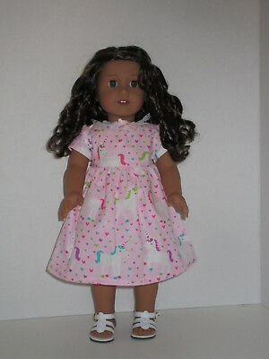 """Unicorns & Hearts Dress for 18"""" Doll American Girl Doll Clothes"""