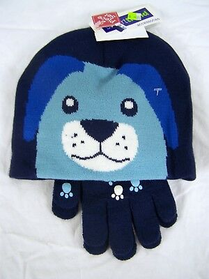 Smart Trend Blue Dog Gloves and Beanie Hat Set Knit Boys Youth One Size