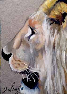 Broadway Original Acrylic ACEO 2.5 x 3.5 Impressionist Lion Face Painting