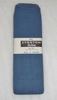AUTHENTIC VINTAGE 1970's UNWORN MEN'S AIR FORCE BLUE STRETCH NYLON RIBBED SOCKS