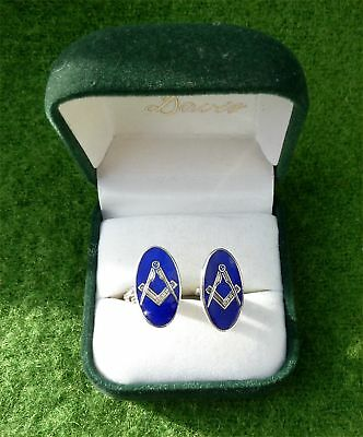 Vintage Cased Sterling Silver & Enamel 'masonic' Cufflinks - Estate Clearance