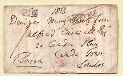 1833 Entire to CAMDEN TOWN, No.6 REC House, DEVIZES PENNY POST, TO PAY 1d ONLY