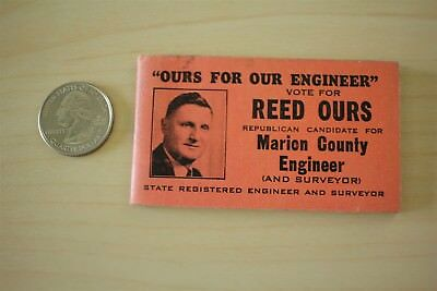 Reed Ours 50s 60s Marion County Engineer Republican Candidate Note Scratch Pad