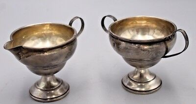 Sterling SIlver CREAMER & OPEN SUGAR BOWL REINFORCED WITH CEMENT R B Silver GOOD