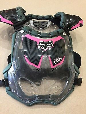 Fox Racing Chest Protector Red Black Youth Girls Kids Pink