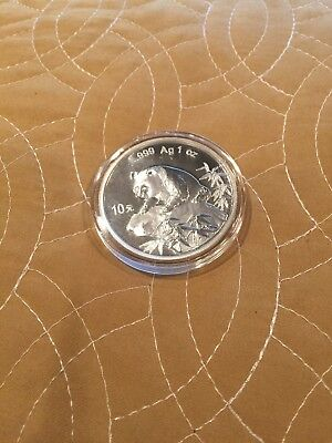 ~ 1999 China 10 Yuan Panda Coin ~ 1oz., .999 Silver in Capsule ~