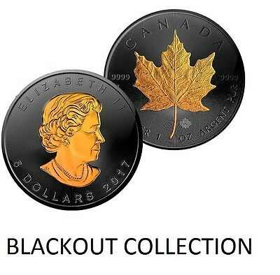 1 Oz Silver Coin Canadian Maple Leaf $5 Black Ruthenium-24Kt Blackout Collection