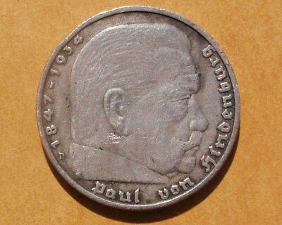 Germany 1936-D Silver 5 Reichsmark Coin KM#94