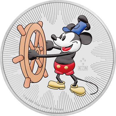 2017 Niue 2$ Steamboat Willie 1 Oz Mickey Mouse .999 Silver Colored Coin