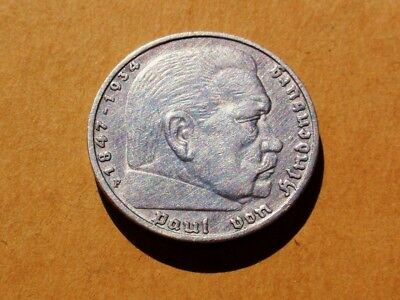 Germany 1935-F Silver 5 Reichsmark Coin KM#86