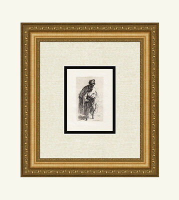 """LOOK 1800s REMBRANDT SIGNED Etching B179 """"Beggar With a Wooden Leg"""" Framed COA"""
