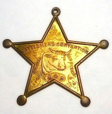 1909 Cattlemen's Convention Roswell, New Mexico Star Shaped, Steer Pictorial