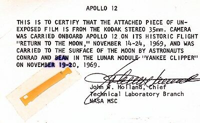 Apollo Moon Mission 1969 Rare Film Strip Certified One Owner