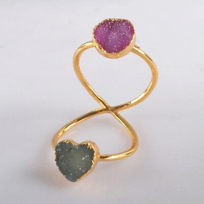 Size 8 Hot Pink & Blue Agate Druzy Twisted Full Finger Ring Gold Plated H129115