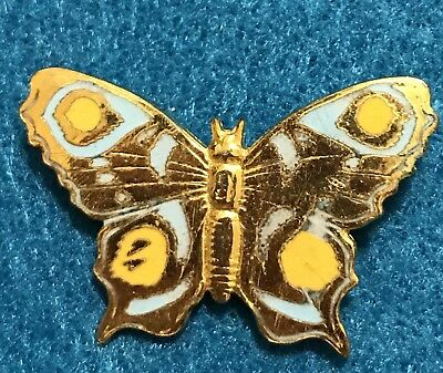 Vintage Enamel Gold Butterfly Brooch Stamped Pin Estate Signed Frierici Antique