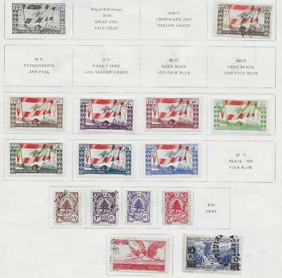14 Lebanon Stamps from Quality Old Album 1945-1946