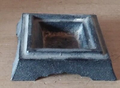 """Vintage Metal Square Cast Iron Base Made in Japan Black Statue Orb 2.5"""" Square"""