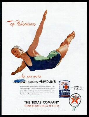 1947 woman diver diving art Texaco Havoline motor oil vintage print ad