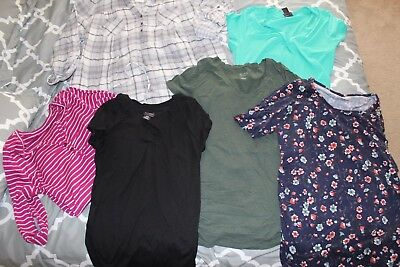 NEW & Preowned Motherhood Maternity Clothes LOT 6 Tops Flannel Shirt L XL LARGE