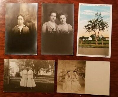 (5) 1920's REAL PHOTO POSTCARD RPPC Colorado Women Pioneer Settlers Early WASH