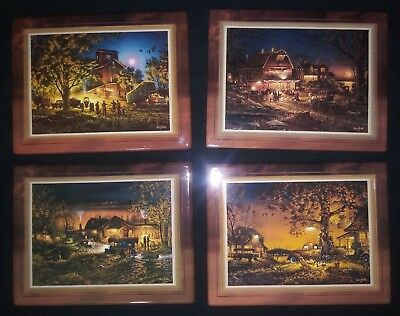 Terry Redlin Hometown Memories 4 Plate Set individually numbered limited edition