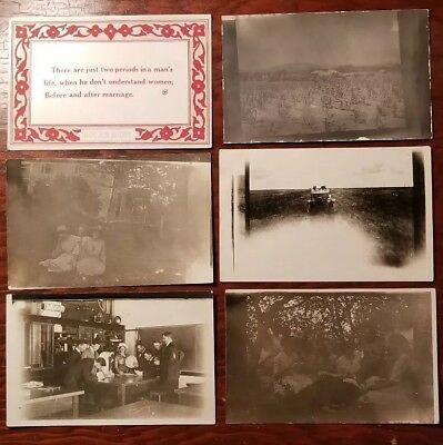 (6) 1920's REAL PHOTO POSTCARD RPPC UNPOSTED Classroom Experiment, Quote, Car
