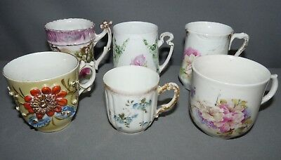 Demitasse Cups Lot of 6 Silesia Limoges France  Hand Painted Flowers No Saucers