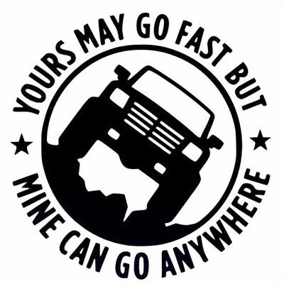 "Creative 4""X4"" Yours May Go Fset Mine Can Go Anywhere Funny Car Stickers 1pc EC"