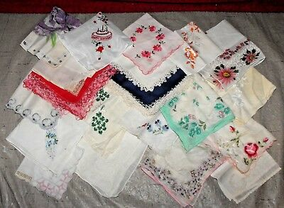 20 VINTAGE ESTATE FIND WOMEN'S  LADIES  HANKIE HANDKERCHIEFS  lot 1