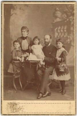 Victorian Family Poses With Basket Of Flowers Frankfurt Studio Carte De Visite