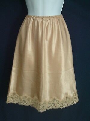 "Lindsey Roscoe Shiny Gold Satin Half  Slip with 3"" of Lace ~ Small ~ 22""L"