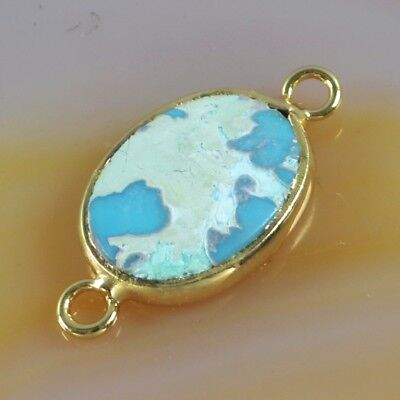 Natural Genuine Turquoise Bezel Connector Gold Plated B076155