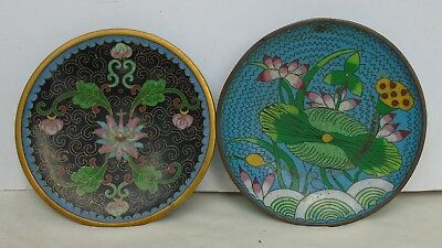 Antique Chinese Cloisonne 2 Small Plates Blue and Black