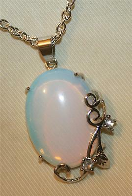 Dainty Silvertone Swirl Accent Opalescent Blue Pink Rhinestone Pendant Necklace