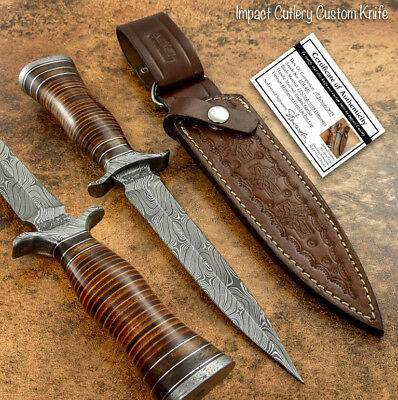 Impact Cutlery Rare Custom Damascus Dagger Knife Stacked Leather Handle