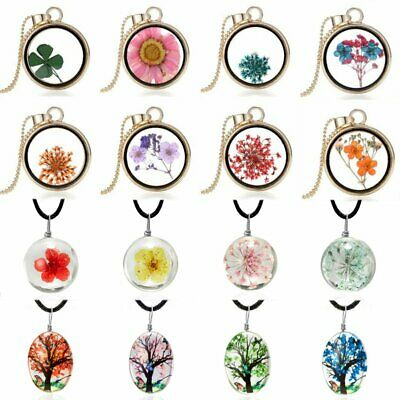 Nature Real Dried Cream Flowers Locket Pressed Jewelry Round Pendant Necklace
