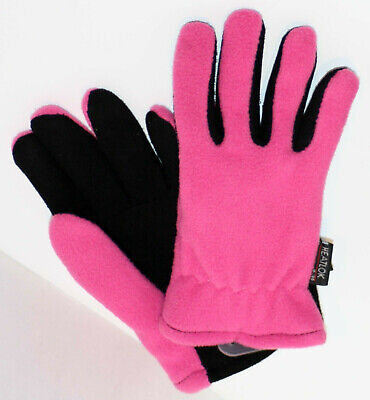 Heat-Lock Insulated-DeerSkin Suede Leather Gloves-PINK- Girls XL: age 3 to 6