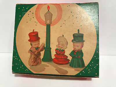 "Vintage Christmas ""The Carollers"" Candle Set Original Box Tavern Novelty"