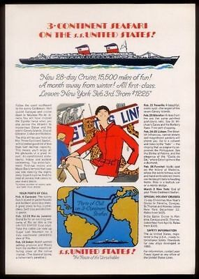 1967 SS United States ship woman with cheetah art vintage US Lines print ad