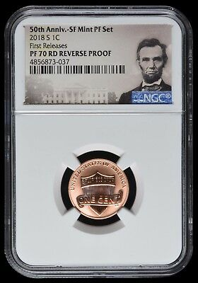 2018 S Lincoln 1C 50TH ANNIV SF MINTPF SET LABEL NGC PF70 RD F.R. REVERSE PROOF