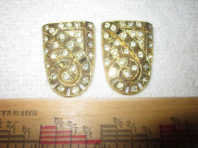 Pair of Vintage Goody Art Deco Shield Design Rhinestone Shoe Fur Clips