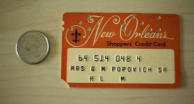 Vintage 1960s New Orleans Shoppers' Credit Card Popovich #20651