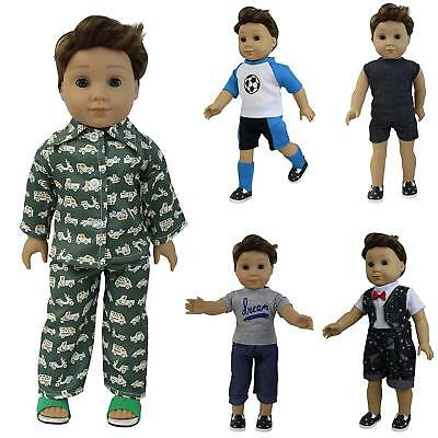 5 Sets Boy Doll Clothes + 2 Pairs Shoes for 18 Inch Doll Accessories Gifts US