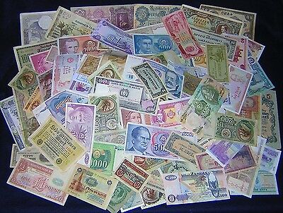 25 DIFFERENT WORLD PAPER MONEY BANKNOTES from REALLY HUGE PILE *FUN *NO=RESERVE*